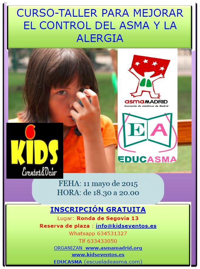 Cartel curso-taller mejorar control asma y alergia