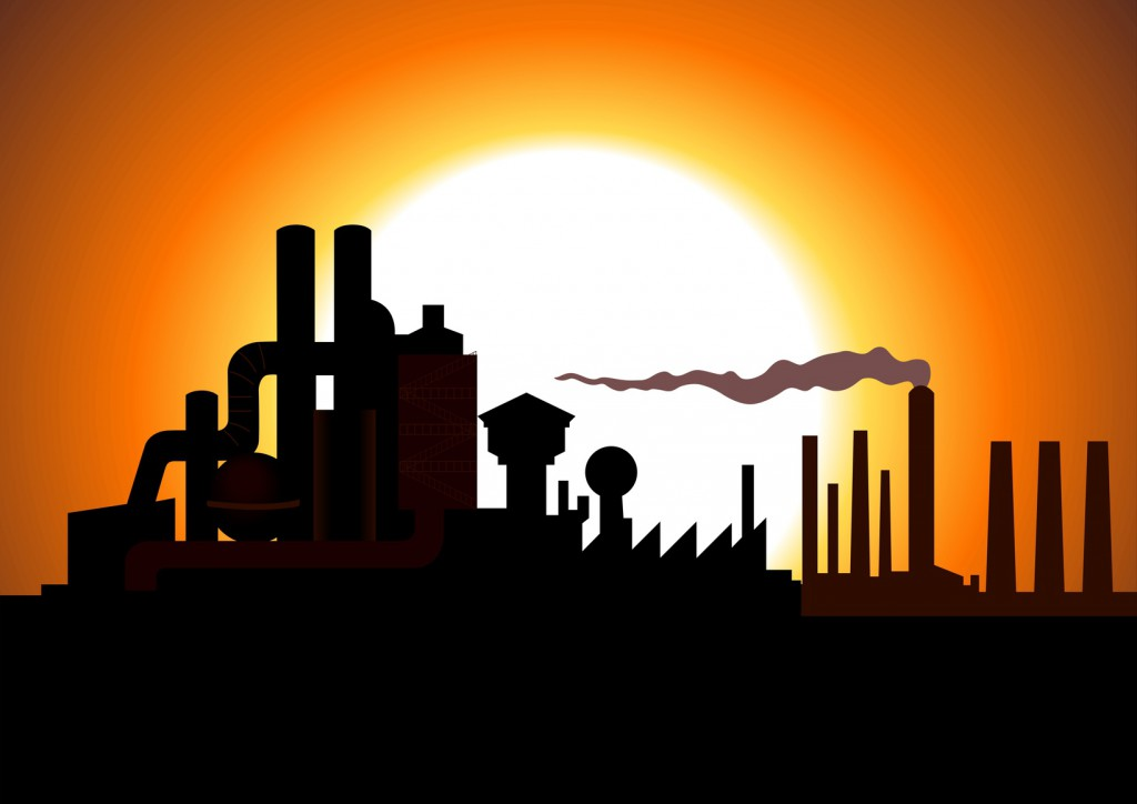 Silhouette illustration of a factory